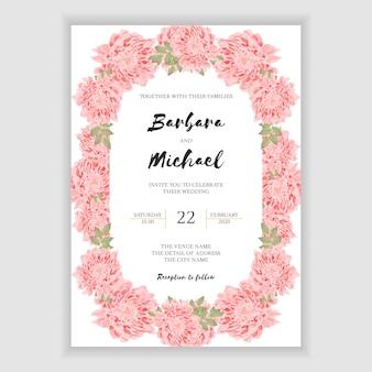 Carta di invito di nozze con cornice di fiori di crisantemo