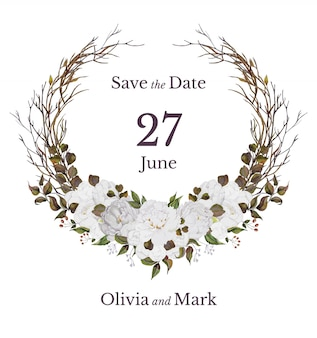 Carta di invito di nozze con corona floreale dell'acquerello