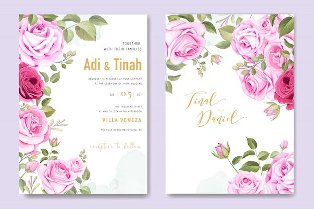 Carta di invito di nozze con elementi floreali