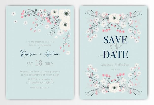 Carta di invito di nozze con fiori colorati e foglie.