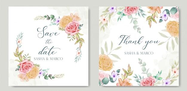 Carta di invito di nozze con fiori colorati e foglie