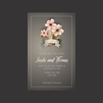 Carta di invito di nozze con fiori e foglie