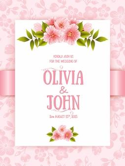 Carta di invito di nozze con fiori