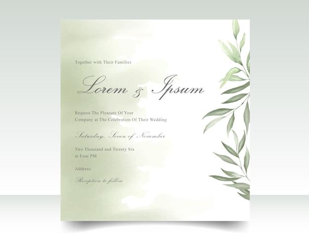 Carta di invito di nozze con fogliame