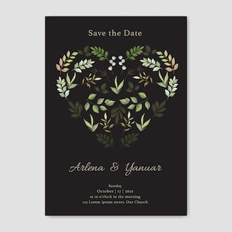 Carta di invito di nozze con foglie amore vettoriale