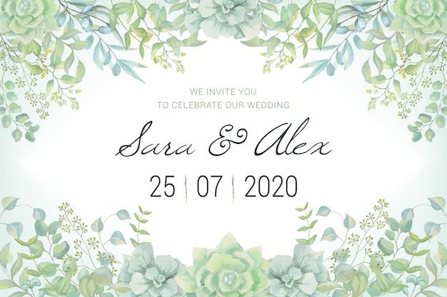 Carta di invito di nozze con foglie di acquerello