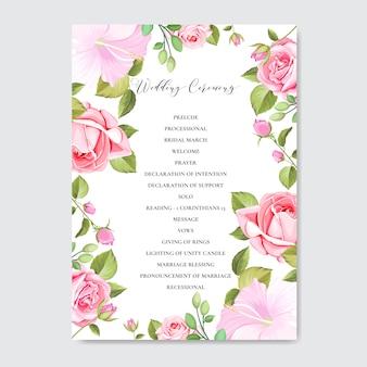 Carta di invito di nozze con foglie e fiori colorati