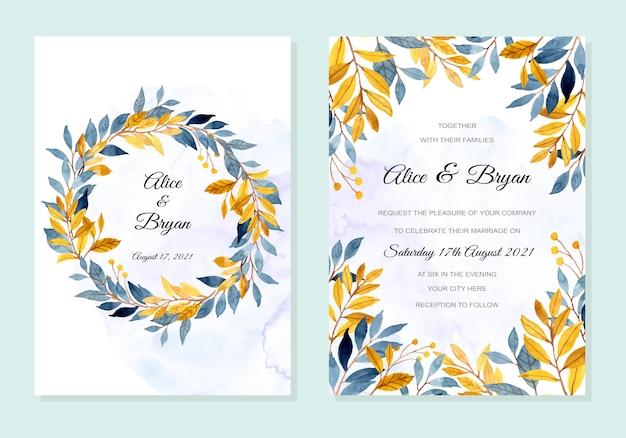 Carta di invito di nozze con foglie gialle blu acquerello