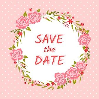 Carta di invito di nozze con ghirlanda floreale. salva la data