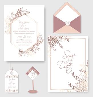 Carta di invito di nozze con modelli di fiori.