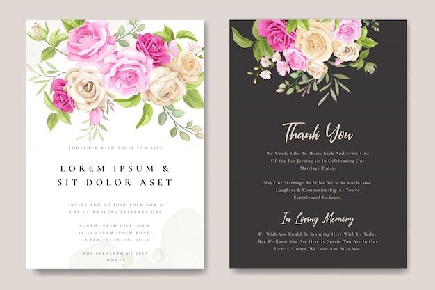 Carta di invito di nozze con modello di belle rose
