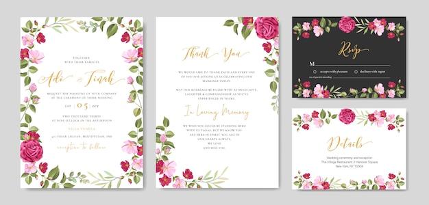 Carta di invito di nozze con modello di cornice floreale e foglie
