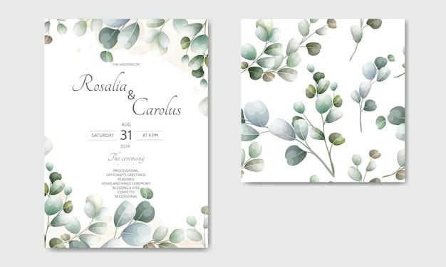 Carta di invito di nozze con modello di foglie di eucalipto