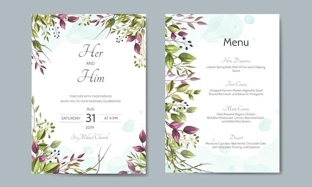 Carta di invito di nozze con modello di foglie verdi