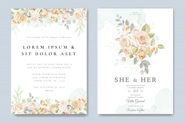 Carta di invito di nozze con modello floreale