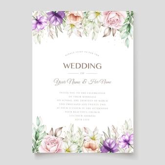 Carta di invito di nozze con morbido verde acquerello floreale