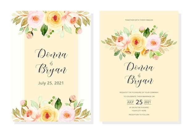 Carta di invito di nozze con sfondo giallo floreale ad acquerello