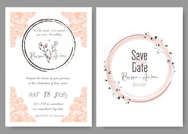 Carta di invito di nozze cornice disegnata a mano floreale