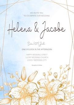 Carta di invito di nozze, salva la data con sfondo acquerello, cornice dorata, fiori, foglie e rami.