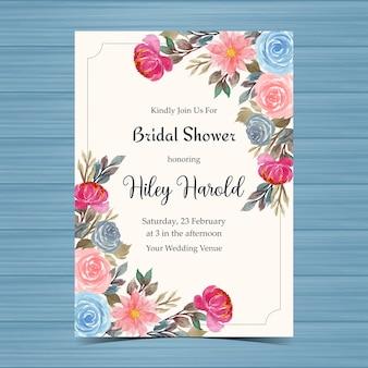 Carta di invito doccia nuziale vintage con rose