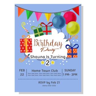 Carta di invito festa di compleanno con scatola presente
