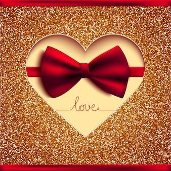 Carta di invito, fiocco e glitter oro