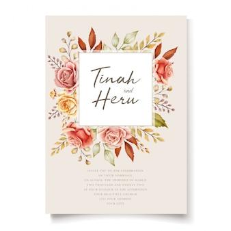 Carta di invito floreale dell'acquerello di autunno