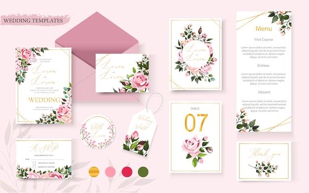 Carta di invito floreale dorato di nozze salva la data design del menu di tavolo rsvp con rose fiori rosa e foglie verdi corona e cornice. modello di vettore decorativo elegante botanico in stile acquerello