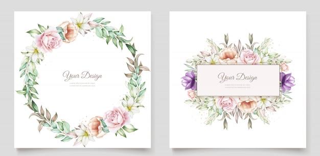 Carta di invito floreale e foglie disegnate a mano