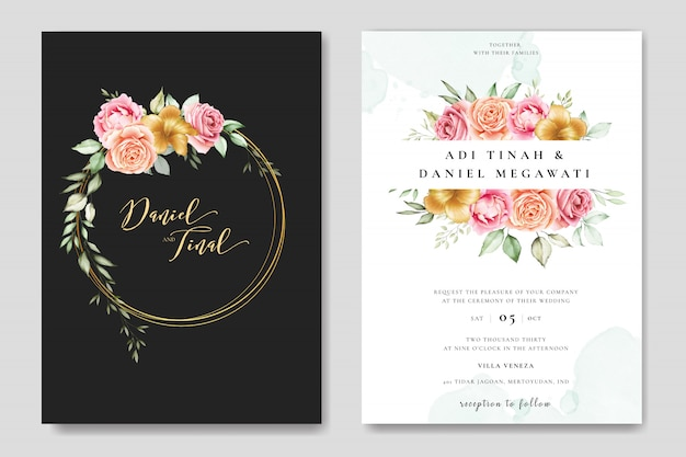 Carta di invito matrimonio acquerello con bellissimo modello floreale e foglie