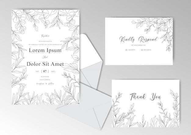 Carta di invito matrimonio disegnato a mano elegante con foglie