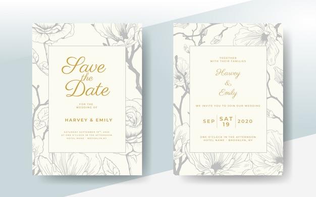 Carta di invito matrimonio elegante con cornice floreale vettoriale