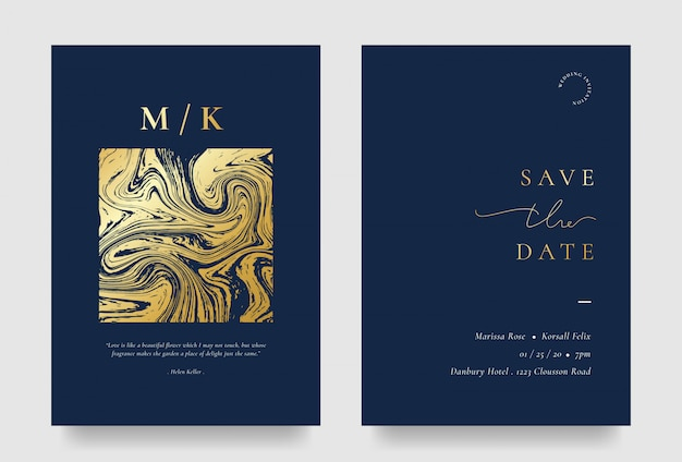 Carta di invito matrimonio elegante con elemento liquido dorato