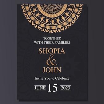 Carta di invito matrimonio elegante con ornamento di mandala.