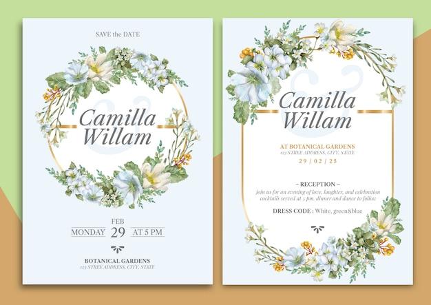 Carta di invito matrimonio floreale disegnato a mano
