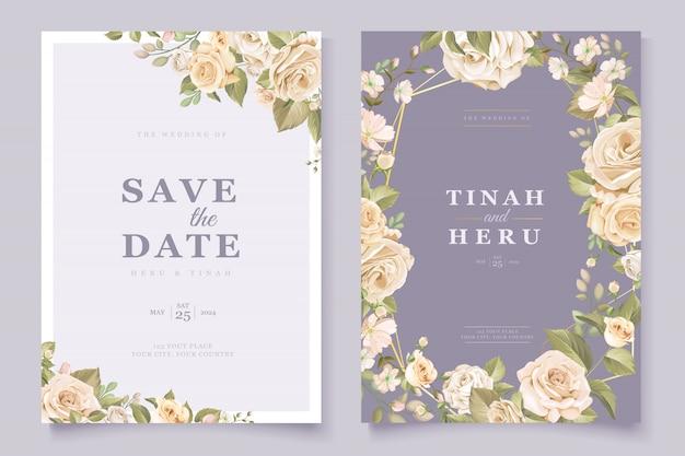 Carta di invito matrimonio floreale elegante