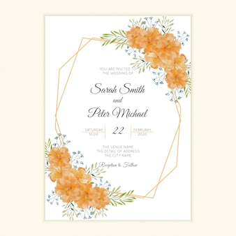 Carta di invito matrimonio rustico con cornice di fiori ad acquerello