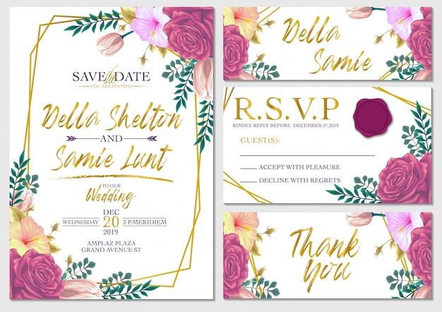 Carta di invito matrimonio set vettoriale con modello di sfondo di fiori