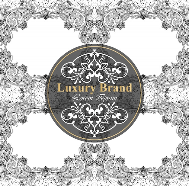 Carta di marca di lusso con decoro barocco. modelli fatti a mano