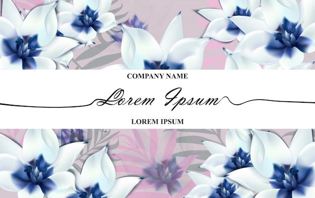 Carta di marca di lusso con fiori blu realistici. sfondi di disegni moderni di composizione astratta