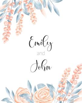 Carta di matrimonio con cornice floreale