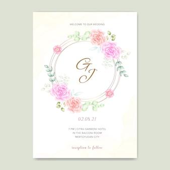 Carta di matrimonio con fiori ad acquerelli