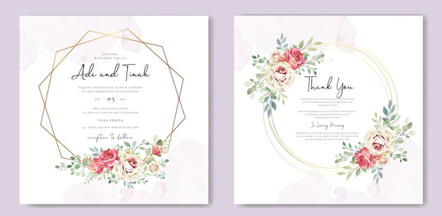 Carta di matrimonio con fiori e foglie di ornamento