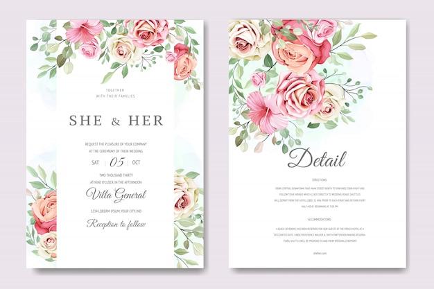 Carta di matrimonio e invito con elegante modello floreale e foglie