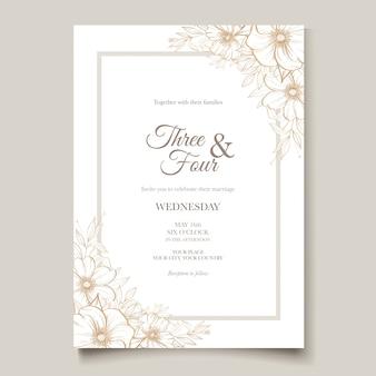 Carta di matrimonio elegante linea arte con bellissimo modello floreale e foglie