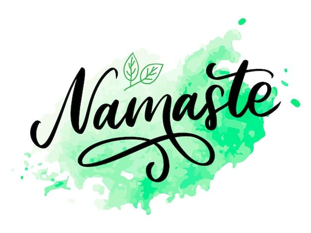 Carta di namaste disegnata a mano ciao in hindi. illustrazione di inchiostro. sfondo di lettere disegnate a mano su sfondo bianco citazione positiva. calligrafia moderna a pennello.