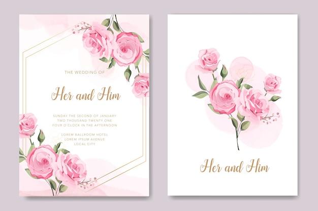 Carta di nozze con modello di rose rosa tenue