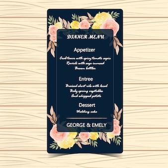 Carta di nozze menu floreale con fiori autunnali