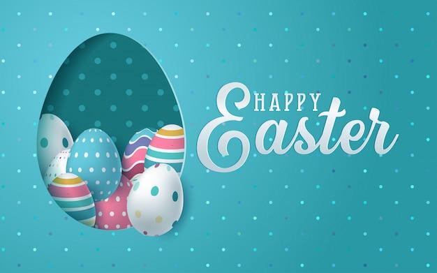 Carta di pasqua con carta tagliata a forma di uovo con fiori di primavera.