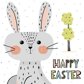 Carta di pasqua felice con coniglietto carino